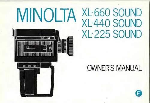 Product picture MINOLTA XL-660, XL-440 & XL-225 SOUND SUPER 8 CAMERA MANUAL