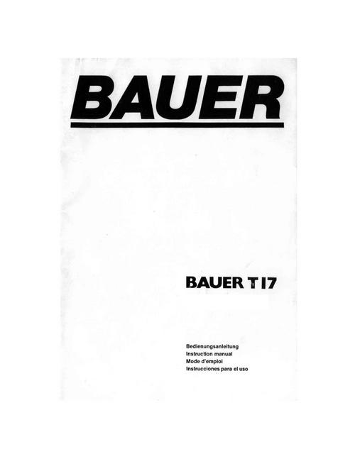 Product picture BAUER T17 SUPER 8 PROJECTOR MANUAL