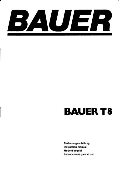 Product picture BAUER T8 SUPER 8 PROJECTOR MANUAL